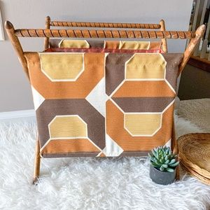 Vintage Retro Wood Handled Fabric Sewing Basket